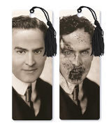 Dimension 9 3D Lenticular Bookmark with Tassel, 1920s Zombie Gentleman, Black and White
