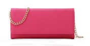 Women's Faux Saffiano Leather Bifold Cross Body Clutch Wallet