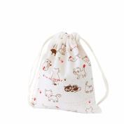 GAXUVI Women Cute Cat Drawstring Beam Port Shopping Bag