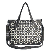 Real Leather Patchwork Tote Bag Handbag Multicolour Black White Floral Handmade