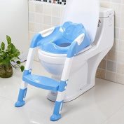 Large children's toilet toilet ring baby toilet ladder folding potty , blue