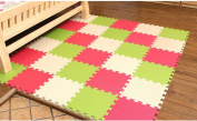 Tianmei 10 Piece Interlocking Foam Play Mat Set Soft Kids Baby EVA Activity Puzzles Mat Floor Tiles, Beige and Grass Green and Red