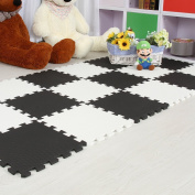 Tianmei 10 Piece Interlocking Foam Play Mat Set Soft Kids Baby EVA Activity Puzzles Mat Floor Tiles, Black and White