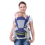 Vrbabies Baby Carrier Backpack Multifunction Baby Child Shoulders Breathable Baby Sling Waist Stool With Environmental Protection Polypropylene Stool , For 3-36 Month Baby & Child (Blue)