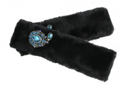 Liying A Pair Of Auto Car Luxury Faux Fur Seat Belt Padding Covers Fluffy Safety Belt Pads Shoulder Protection Seat Strap Sleeves with Bling Rhinestone