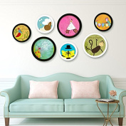 HAHA Combination of quality solid wood round wall photo frame photo frame picture frame