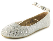 New Girls/Childrens Silver Shimmer Party Ballerinas, Diamantes & Gems - Silver - UK SIZES 10-5