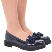 ByPublicDemand Tara Womens and Girls Low Heel Bow Detail Loafers