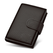 Yilen Men's Multi-Card Black Cow Leather Bifold Short Wallet Extra Capacity Money Clip Card Case 3-in-1