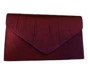 Burgundy Satin Envelope Clutch Bag, Claret Evening Bag, Ladies Wine Coloured Shoulder Bag, Prom Wedding