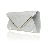 MARNIE Silver Foil Mesh Fold Over Envelope Clutch Bag with Chain Shoulder Strap
