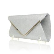 MARNIE Silver Foil Mesh Fold Over Envelope Clutch Bag with Chain Shoulder Strap