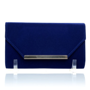 KIEV Electric Royal Blue Faux Suede Mettalic Trim Envelope Classic Clutch Bag