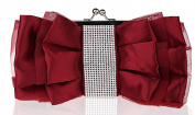 Women's Sweet Bow Satin Clutch Purse Bling Rhinestone Handbag Floral Evening Party Bag
