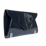 ELLA Navy Blue Patent PU Leather Oversized Envelope Clutch Bag with Shoulder Strap Chain