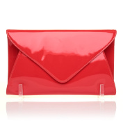 ELLA Red Patent PU Leather Oversized Envelope Clutch Bag with Shoulder Strap Chain