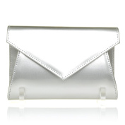 DUBLIN Silver Patent PU Leather Fold Over Envelope Style Clutch Bag with Chain Shoulder Strap