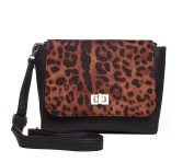 Ladies Womens Animal Print Faux Suede Cross Body Bag