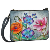 Anuschka Hand Painted Luxury -570 Leather Triple Compartment Crossbody (Floral Fantasy).
