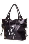 Banned Apparel Gothic Skeleton Hand Bones Shoulder Bag