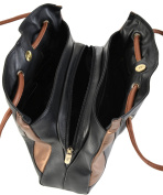 Gigi Black & Bronze Soft Leather 3 Section Shoulder Handbag Best Seller 9134