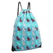 Turquoise Blue Cat Print Canvas Drawstring Slipper PE Gym Fashion Bag