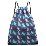 Blue Cat Print Canvas Drawstring Slipper PE Gym Fashion Bag