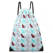 Light Blue Cat Print Canvas Drawstring Slipper PE Gym Fashion Bag