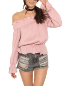 Ruby-Q Women Sexy Summer Loose Off Shoulder Long Sleeve Shirred Waist Ruched Tops Blouse Shirt