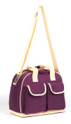 LCY Larger Capacity Multifunction Baby Nappy Changing Bag Tote Messenger Bag - Purple/Apricot
