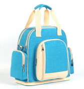 LCY Larger Capacity Multifunction Baby Nappy Changing Bag Tote Messenger Backpack - Light Blue/Apricot