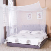 Unisky New White Square Top Sheer Transparent Queen King Size Bed Mosquito Net