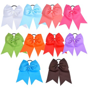 Mudder 10 Pieces Large Ponytail Holder Girl Cheerleader Sports Hair Bows Elastic Ties
