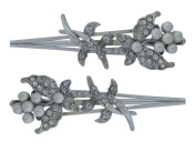 Pair of Silver Plated Crystal and Pearl Butterfly Flower Clips / Bridal Hair Slides Bobby Pins / Wedding Hair Pins
