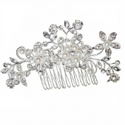 Hysagtek Silver Bridal Wedding Flower Crystal Rhinestones Pearls Hair Clip Comb