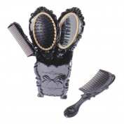 V-EWIGE 5 Pieces Black Comb Set for Hair Styling Family Pack Great Gift Set European Lace Comb Containing Cup