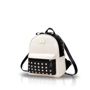Nicole & Doris New Schoolbags Backpack Women Handbags Travel Bag Satchel Metal Fashion PU Leather White Splice