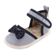 Baby Girls D-orsay Strip Bowknot Mary Jane Sandals Crib Shoes Blue