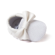 Baby Girls Boys Sequins Pu Leather Bow Soft Sole Mocassins Crib Shoes