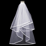 Beyondfashion 2T White Wedding Bridal Veil With Satin Edge Comb Elbow New