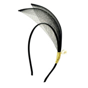 Headband romantic chic 2 Pointed Fishnet Pearl and Mother of Pearl 12 mm - Black