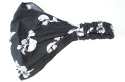 Ladies elastic back bandana headwrap cravet (black with white skull and crossbones design).Stylish and attractive, unique retro looking bandana