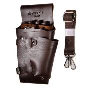 JZK® Leather Hairdressing Scissors Holder Holster Pouch Scissors Case Bag with Belt Hairdresser Tool Bag, Brown