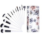 Gospire Makeup Brushes Set 12 Pcs Professional Cosmetics Foundation Face Eyeshadow Kits with Flower Pattern Case