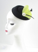 Yellow Black Silver Feather Pillbox Hat Fascinator Headpiece Races Hair Vtg 437 *EXCLUSIVELY SOLD BY STARCROSSED BEAUTY*