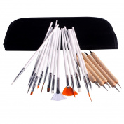 Andux 20 Pcs Bundle Nail Art Tool Kit:15 pcs Nail Art Design Painting Polish Brush+ 5 pcs Dotting Pens/MJBS-01