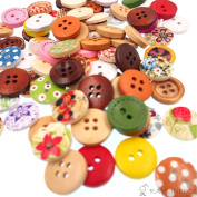 RayLineDo® About 200pcs Buttons Multi Colour Beautiful Cute Round Shape Delicate Wood Buttons DIY Buttons for Sewing and Crafting