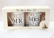 50th Anniversary Gift Set of 2 China Mugs 'Mr Right & Mrs Always Right'
