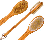 Bath Blossom Bamboo Dry Body Brush Long Handled Exfoliating Bath Scrubber For Men and Women