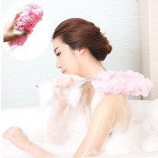 V-noah Long Handle Body Bath Brushes Back Brush Scrubber Soft Mesh Pouffe Exfoliator Pink